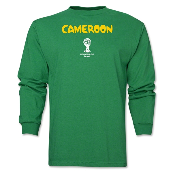 Cameroon 2014 FIFA World Cup Brazil(TM) Men's LS Core T-Shirt (Green)