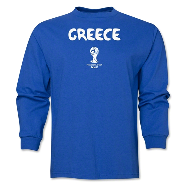 Greece 2014 FIFA World Cup Brazil(TM) Men's LS Core T-Shirt (Royal)