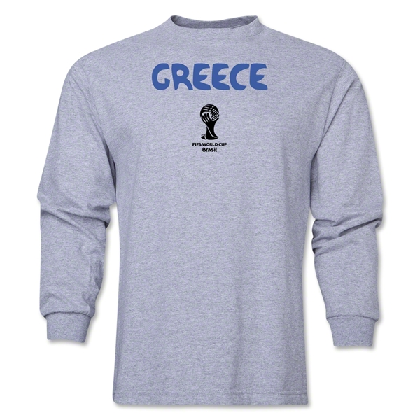 Greece 2014 FIFA World Cup Brazil(TM) Men's LS Core T-Shirt (Grey)