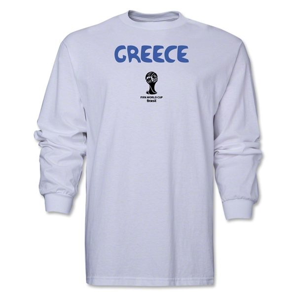 Greece 2014 FIFA World Cup Brazil(TM) Men's LS Core T-Shirt (White)