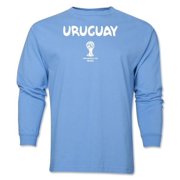 Uruguay 2014 FIFA World Cup Brazil(TM) Men's LS Core T-Shirt (Sky Blue)