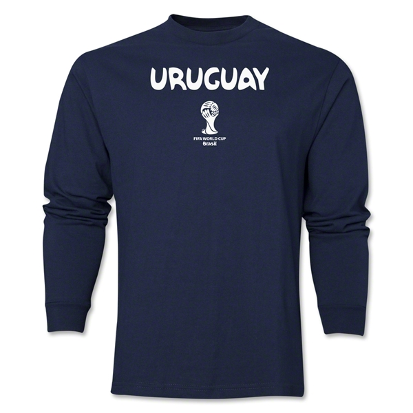 Uruguay 2014 FIFA World Cup Brazil(TM) Men's LS Core T-Shirt (Navy)