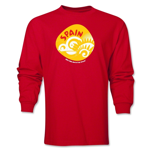 Spain 2014 FIFA World Cup Brazil(TM) Men's LS Icon T-Shirt (Red)