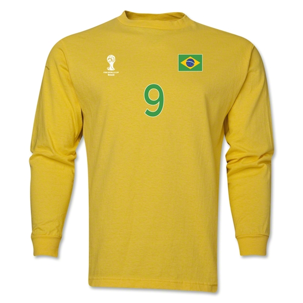 Brazil 2014 FIFA World Cup Brazil(TM) Men's LS Number 9 T-Shirt (Yellow)