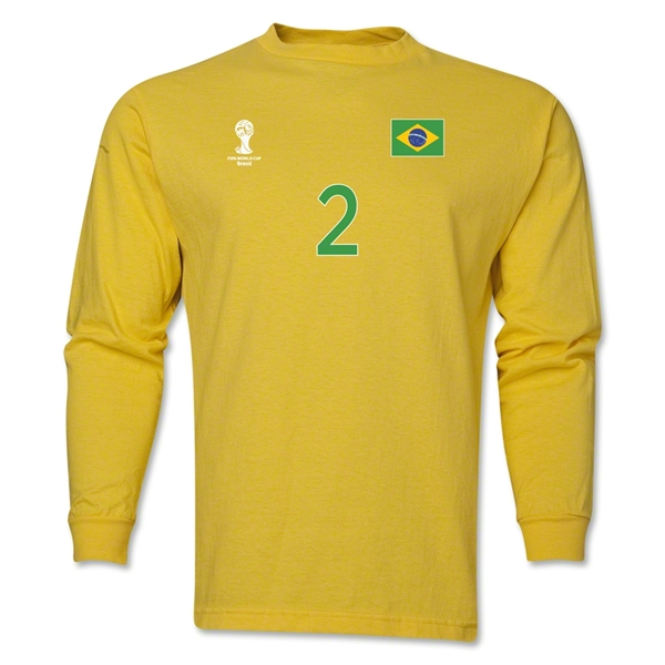 Brazil 2014 FIFA World Cup Brazil(TM) Men's LS Number 2 T-Shirt (Yellow)