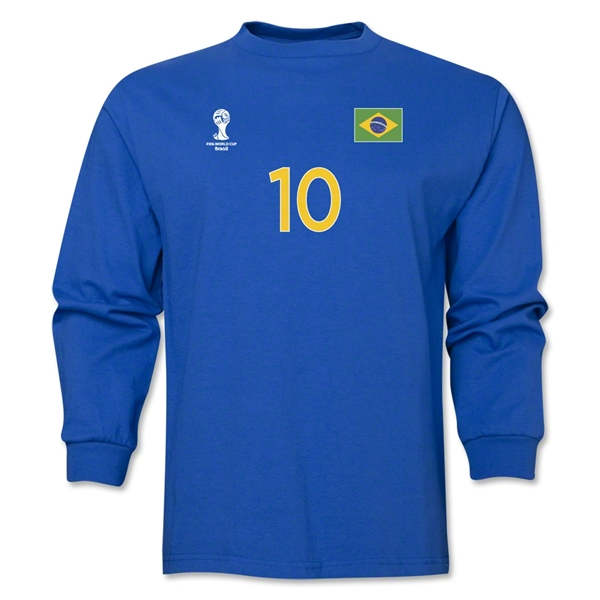 Brazil 2014 FIFA World Cup Brazil(TM) Men's LS Number 10 T-Shirt (Royal)