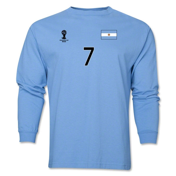 Argentina 2014 FIFA World Cup Brazil(TM) Men's LS Number 7 T-Shirt (Sky)
