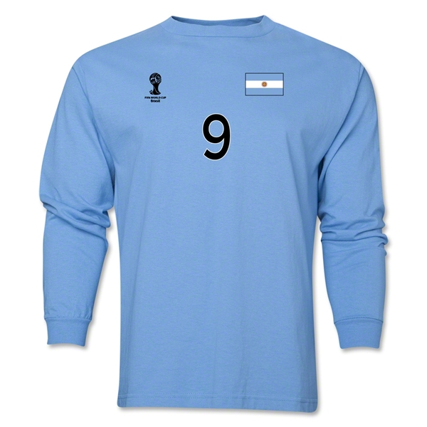Argentina 2014 FIFA World Cup Brazil(TM) Men's LS Number 9 T-Shirt (Sky)