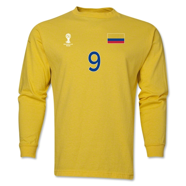 Colombia 2014 FIFA World Cup Brazil(TM) Men's LS Number 9 T-Shirt (Yellow)