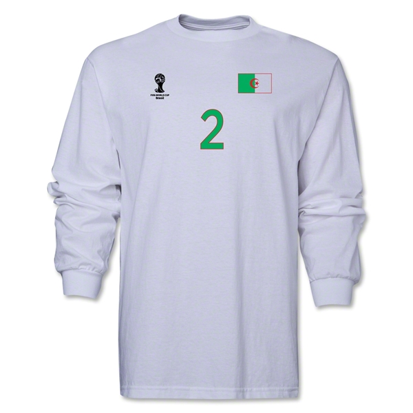 Algeria 2014 FIFA World Cup Brazil(TM) Men's LS Number 2 T-Shirt (White)
