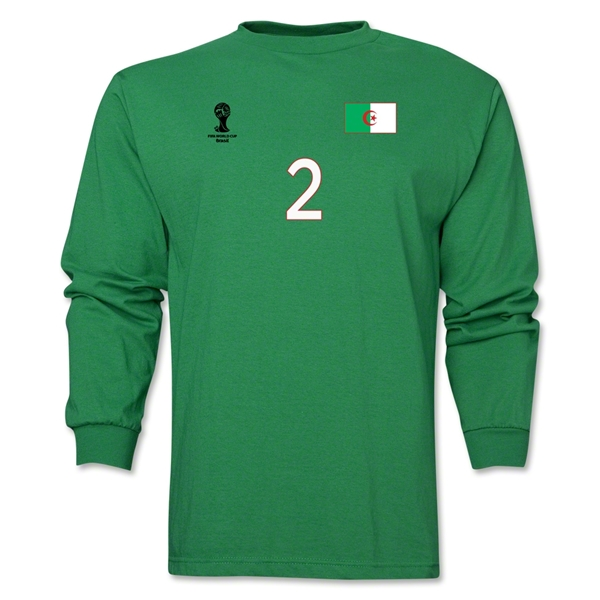 Algeria 2014 FIFA World Cup Brazil(TM) Men's LS Number 2 T-Shirt (Green)