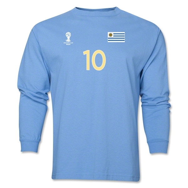 Uruguay 2014 FIFA World Cup Brazil(TM) Men's LS Number 10 T-Shirt (Sky)