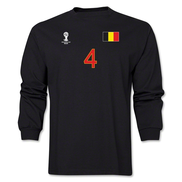 Belgium 2014 FIFA World Cup Brazil(TM) Men's LS Number 4 T-Shirt (Black)