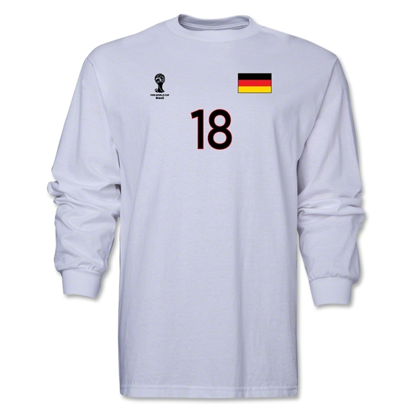 Germany 2014 FIFA World Cup Brazil(TM) Men's LS Number 18 T-Shirt (White)