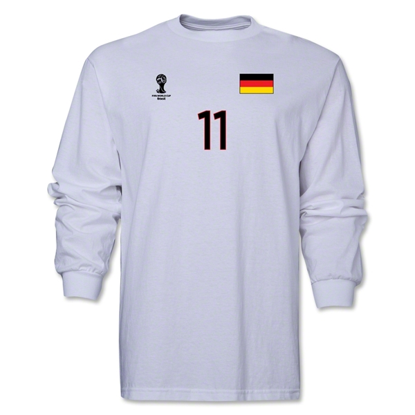 Germany 2014 FIFA World Cup Brazil(TM) Men's LS Number 11 T-Shirt (White)