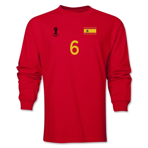 Spain 2014 FIFA World Cup Brazil(TM) Men's LS Number 6 T-Shirt (Red)