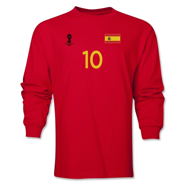 Spain 2014 FIFA World Cup Brazil(TM) Men's LS Number 10 T-Shirt (Red)