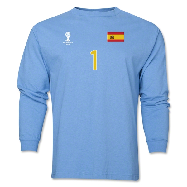 Spain 2014 FIFA World Cup Brazil(TM) Men's LS Number 1 T-Shirt (Sky)