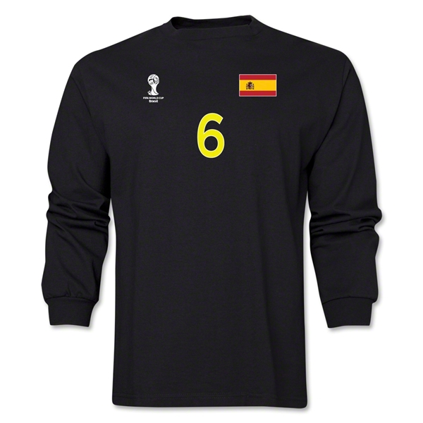 Spain 2014 FIFA World Cup Brazil(TM) Men's LS Number 6 T-Shirt (Black)