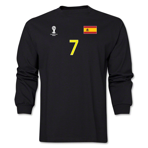 Spain 2014 FIFA World Cup Brazil(TM) Men's LS Number 7 T-Shirt (Black)
