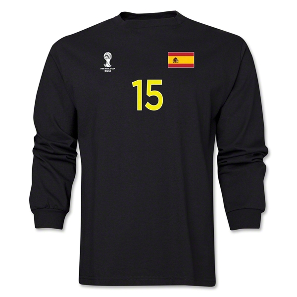 Spain 2014 FIFA World Cup Brazil(TM) Men's LS Number 15 T-Shirt (Black)