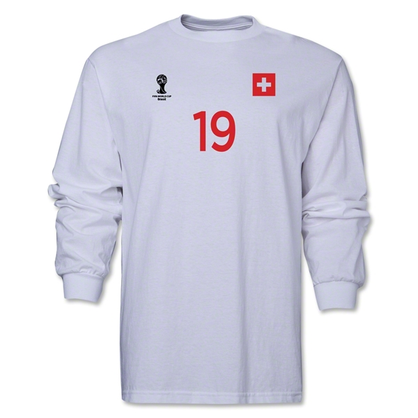 Switzerland 2014 FIFA World Cup Brazil(TM) Men's LS Number 19 T-Shirt (White)