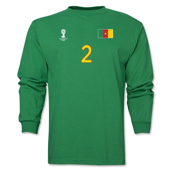 Cameroon 2014 FIFA World Cup Brazil(TM) Men's LS Number 2 T-Shirt (Green)