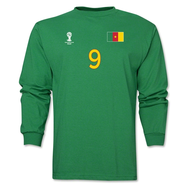 Cameroon 2014 FIFA World Cup Brazil(TM) Men's LS Number 9 T-Shirt (Green)