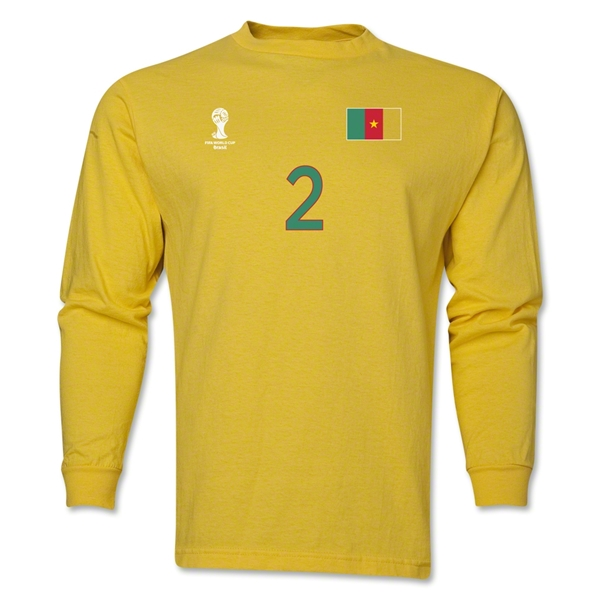 Cameroon 2014 FIFA World Cup Brazil(TM) Men's LS Number 2 T-Shirt (Yellow)