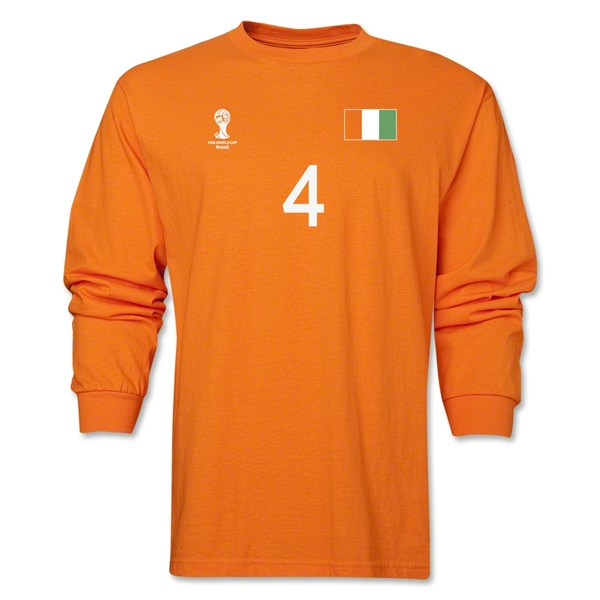 Cote d'Ivoire 2014 FIFA World Cup Brazil(TM) Men's LS Number 4 T-Shirt (Orange)