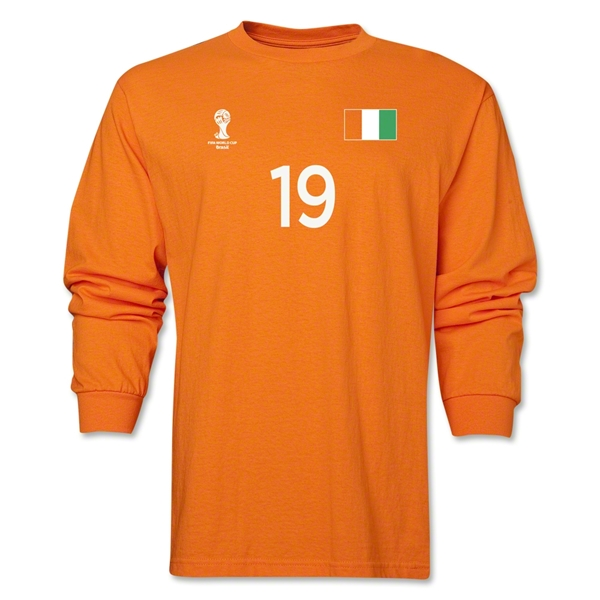 Cote d'Ivoire 2014 FIFA World Cup Brazil(TM) Men's LS Number 19 T-Shirt (Orange)