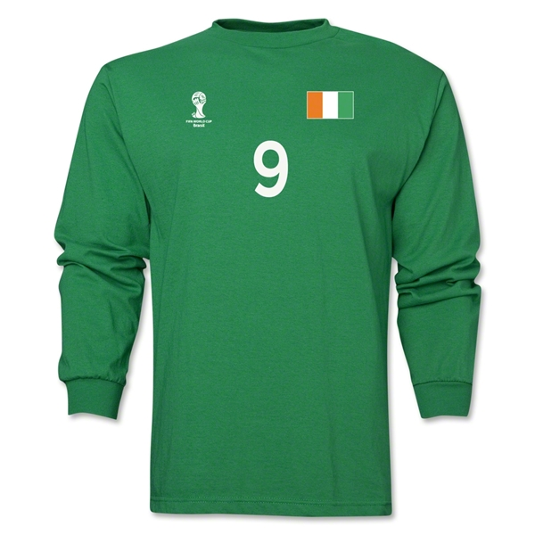 Cote d'Ivoire 2014 FIFA World Cup Brazil(TM) Men's LS Number 9 T-Shirt (Green)
