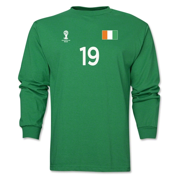 Cote d'Ivoire 2014 FIFA World Cup Brazil(TM) Men's LS Number 19 T-Shirt (Green)