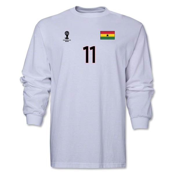 Ghana 2014 FIFA World Cup Brazil(TM) Men's LS Number 11 T-Shirt (White)
