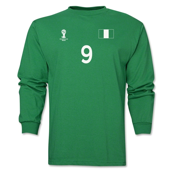 Nigeria 2014 FIFA World Cup Brazil(TM) Men's LS Number 9 T-Shirt (Green)