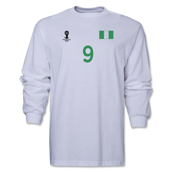 Nigeria 2014 FIFA World Cup Brazil(TM) Men's LS Number 9 T-Shirt (White)