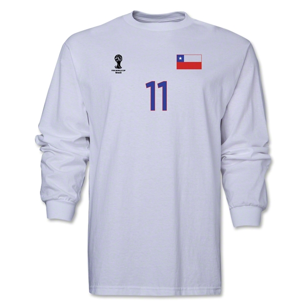 Chile 2014 FIFA World Cup Brazil(TM) Men's LS Number 11 T-Shirt (White)