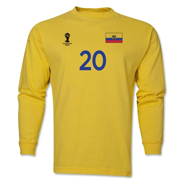 Ecuador 2014 FIFA World Cup Brazil(TM) Men's LS Number 20 T-Shirt (Yellow)