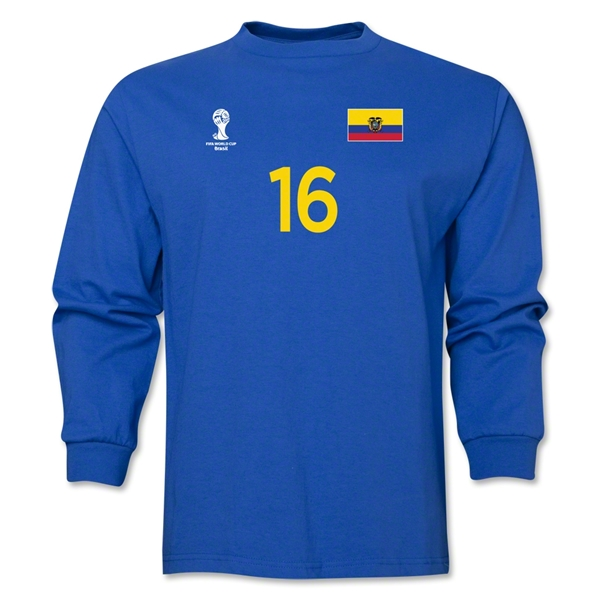 Ecuador 2014 FIFA World Cup Brazil(TM) Men's LS Number 16 T-Shirt (Royal)
