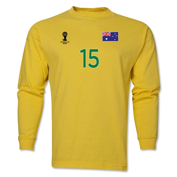 Australia 2014 FIFA World Cup Brazil(TM) Men's LS Number 15 T-Shirt (Yellow)