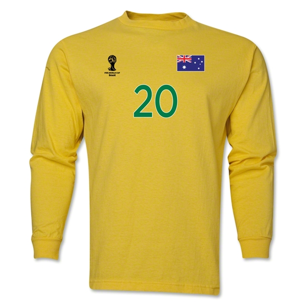 Australia 2014 FIFA World Cup Brazil(TM) Men's LS Number 20 T-Shirt (Yellow)