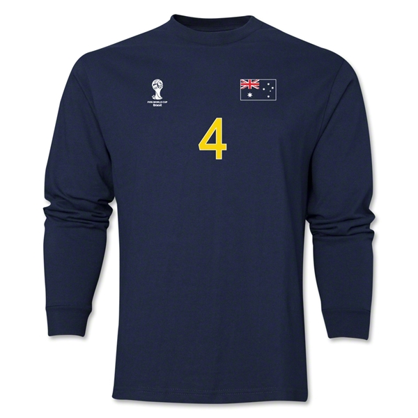 Australia 2014 FIFA World Cup Brazil(TM) Men's LS Number 4 T-Shirt (Navy)