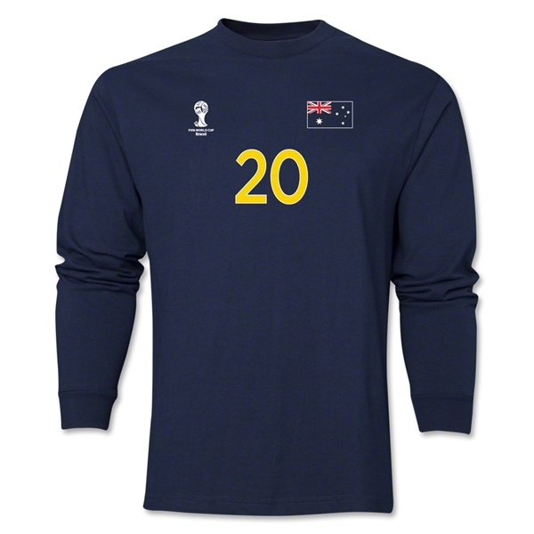 Australia 2014 FIFA World Cup Brazil(TM) Men's LS Number 20 T-Shirt (Navy)