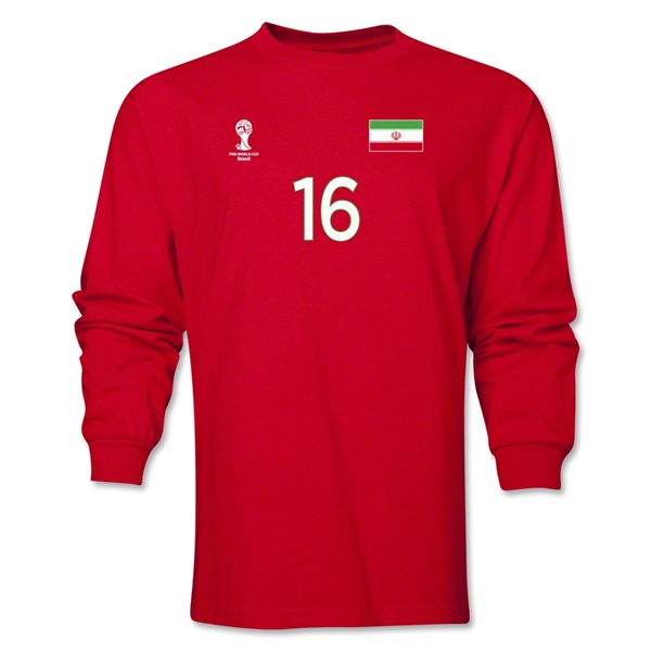 Iran 2014 FIFA World Cup Brazil(TM) Men's LS Number 16 T-Shirt (Red)