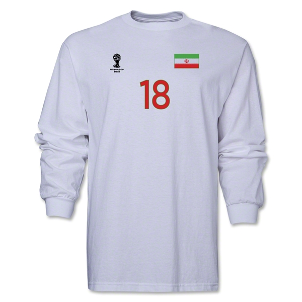 Iran 2014 FIFA World Cup Brazil(TM) Men's LS Number 18 T-Shirt (White)