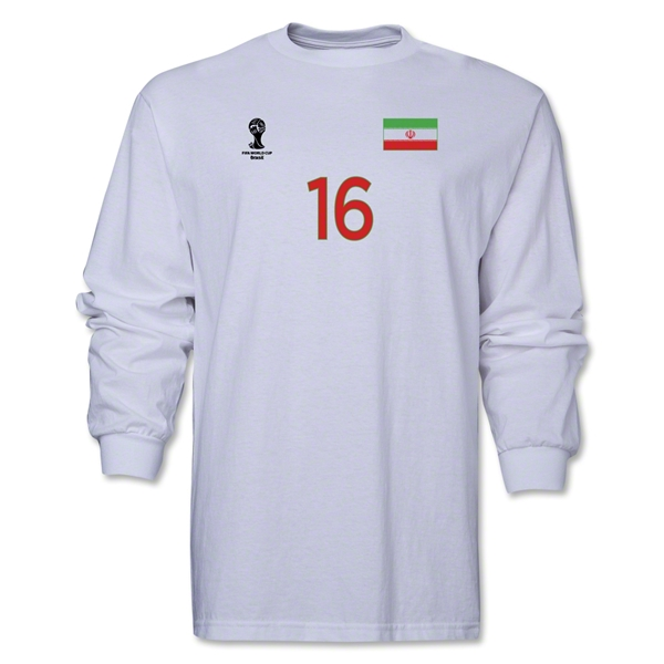 Iran 2014 FIFA World Cup Brazil(TM) Men's LS Number 16 T-Shirt (White)
