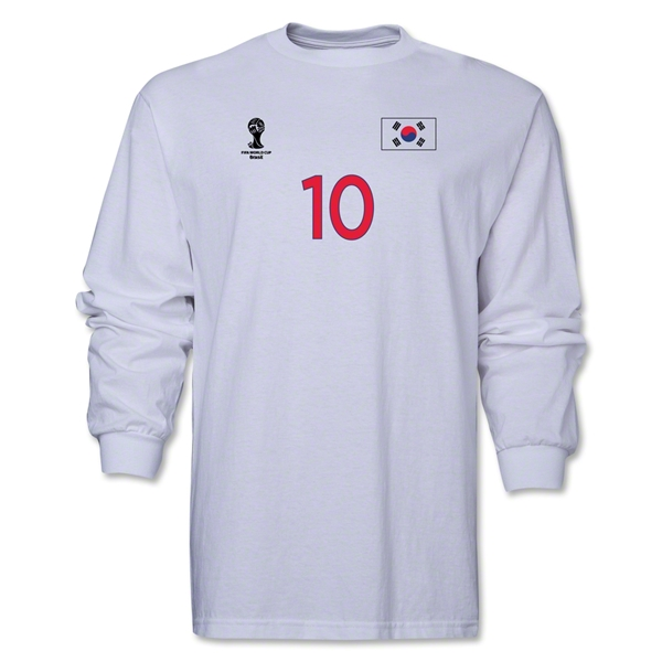 South Korea 2014 FIFA World Cup Brazil(TM) Men's LS Number 10 T-Shirt (White)