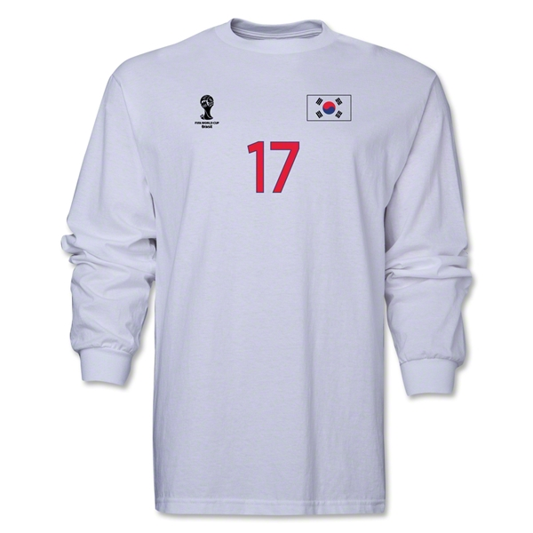 South Korea 2014 FIFA World Cup Brazil(TM) Men's LS Number 17 T-Shirt (White)