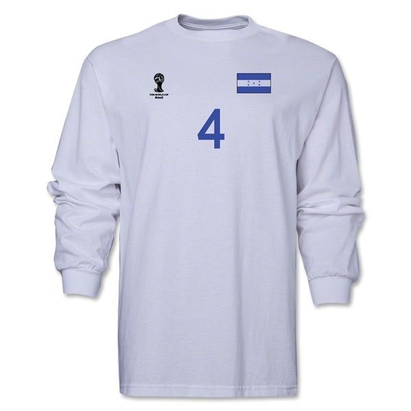 Honduras 2014 FIFA World Cup Brazil(TM) Men's LS Number 4 T-Shirt (White)