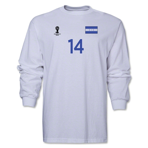 Honduras 2014 FIFA World Cup Brazil(TM) Men's LS Number 14 T-Shirt (White)